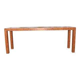 Milo Baughman Style Burlwood Console Table