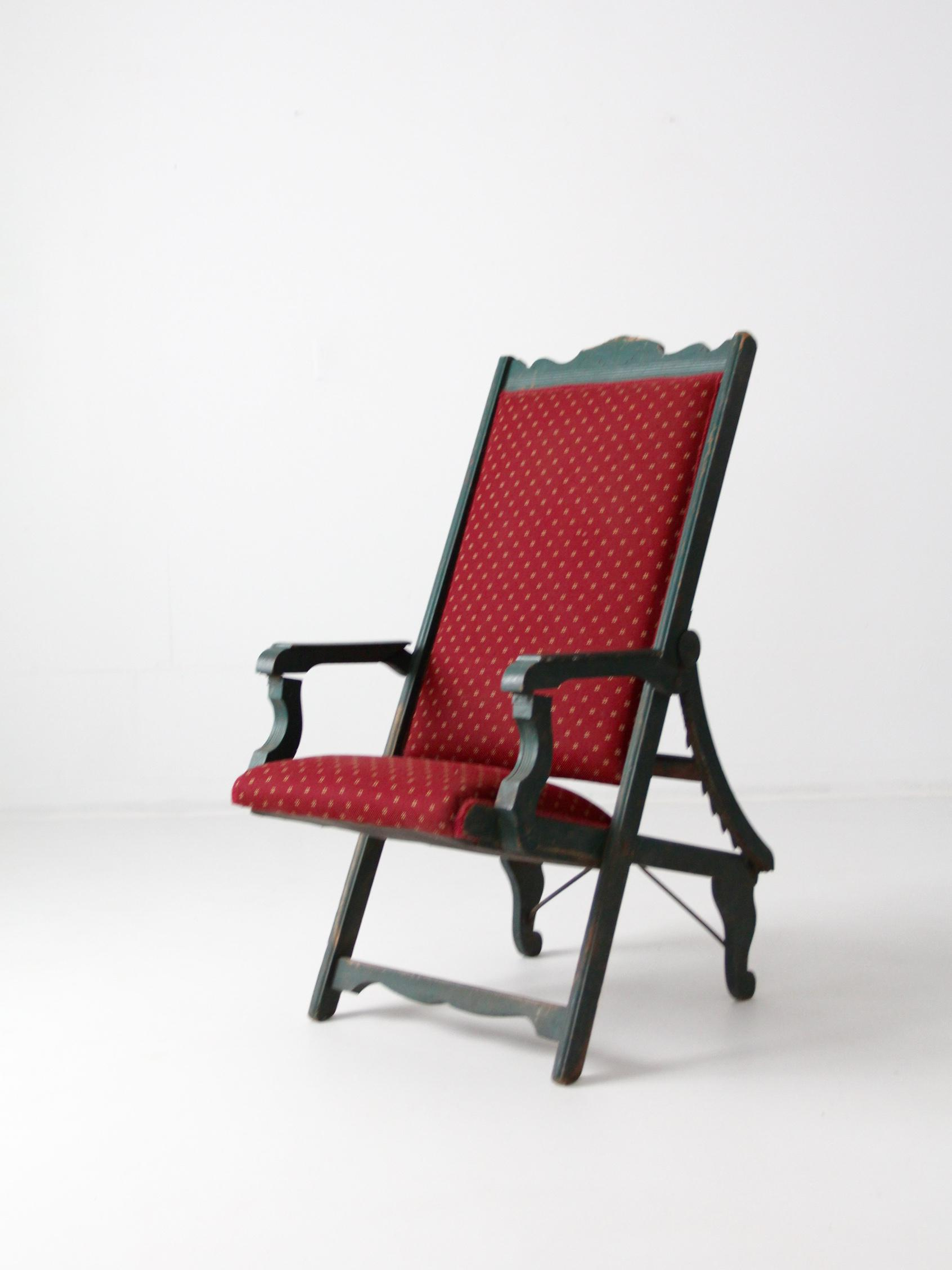 Victorian Maroon Lawn Chair   Image 2 Of 11