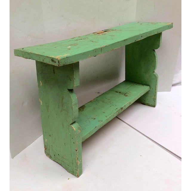 1800s French Country Farmhouse Painted Bucket Bench For Sale - Image 12 of 12
