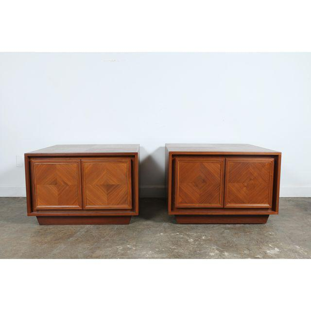 Traditional Milo Baughman Style Walnut Chests - A Pair For Sale - Image 3 of 7