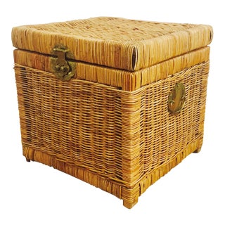 Vintage Square Wicker Trunk