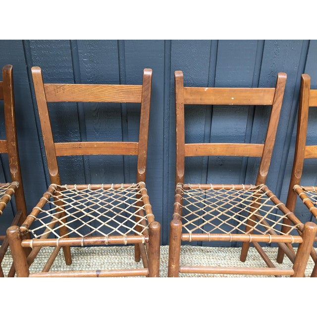 Early American Rawhide Ladderback Chairs - Set of 4 For Sale - Image 5 of 5