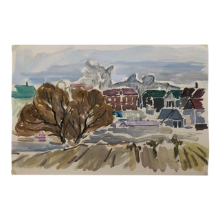 Paul Wieghardt Modern Cityscape Watercolor 1940s For Sale