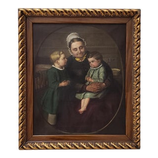 19th C. Hoffmann Family Oil Portrait of a Woman With Two Children For Sale