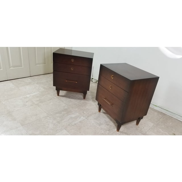 1970s Modern Walnut Nightstands - a Pair For Sale - Image 9 of 13