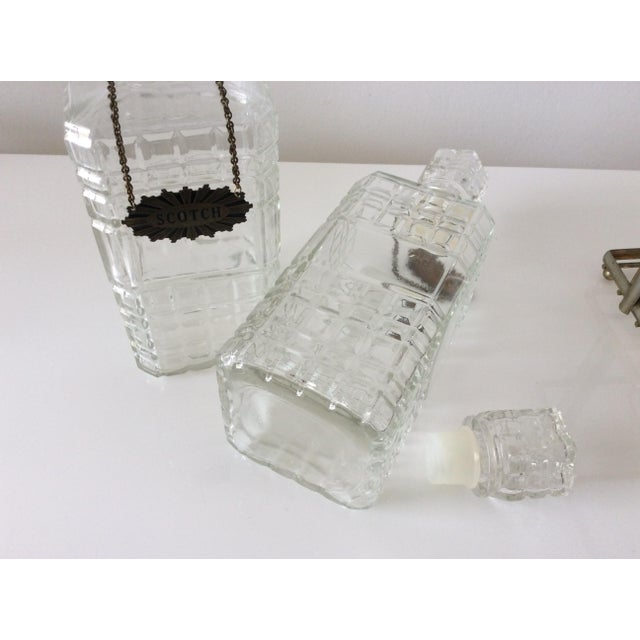 Mid 20th Century Vintage 3 Glass Decanters With Chrome Tantalus For Sale - Image 5 of 9