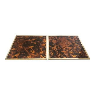 Faux Tortoise & Brass Trays/2 For Sale