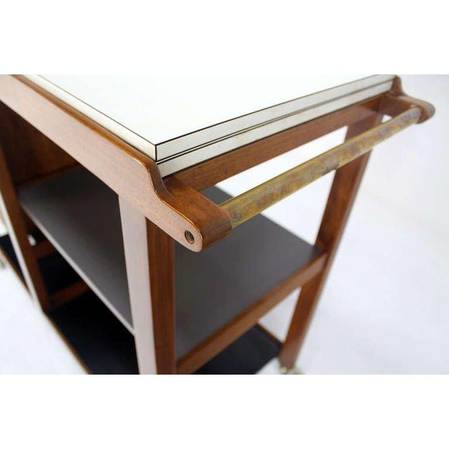 Mid-Century Modern Flip-Top Walnut Serving Cart For Sale - Image 4 of 9