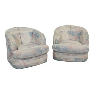 Pair of Mid-Century Modern Style Barrel Back Swivel Club Chairs For Sale