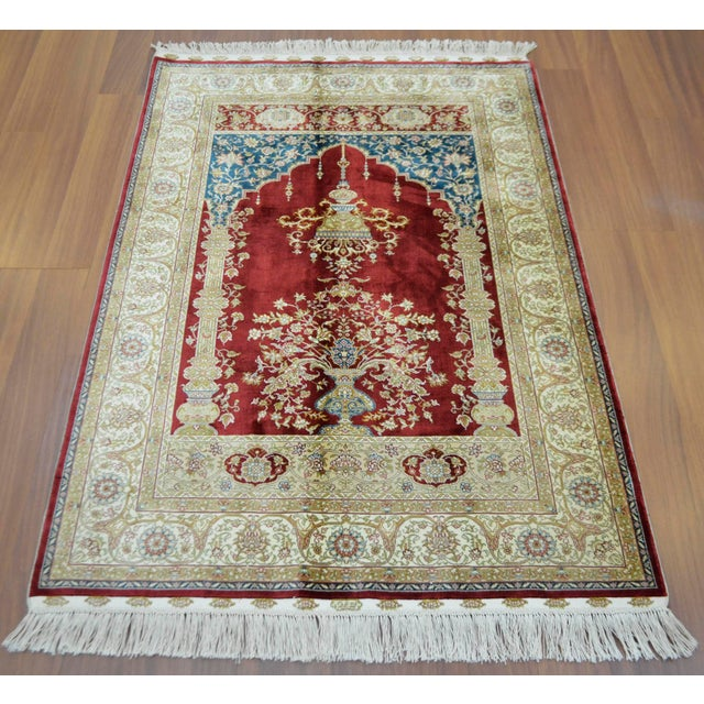 Hand Knotted Turkish Silk Rug - 3′1″ × 4′5″ - Image 2 of 9