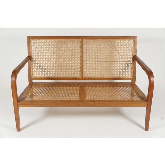 1940s 1940s French 'Art Moderne' Wood Frame & Cane Settee Loveseat with Horsehair Cushions Manner of Corbusier/ Jeanneret For Sale - Image 5 of 12