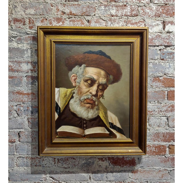 Lajos Polczer - Portrait of a Patriarch Rabbi -Oil Painting For Sale - Image 10 of 10