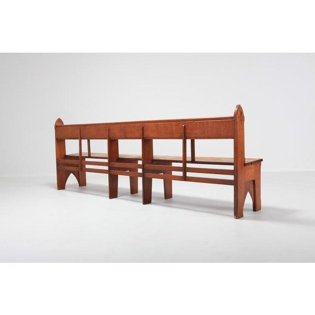 Mid-Century Modern Solid Oak Bench Wabi Sabi Style For Sale - Image 4 of 9