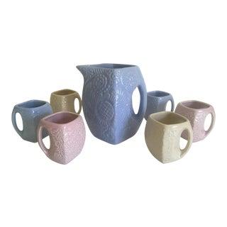 Vintage Art Deco Niloak Embossed Flower Relief Ceramic Pitcher & Cups Beverage Set - 7 Pieces