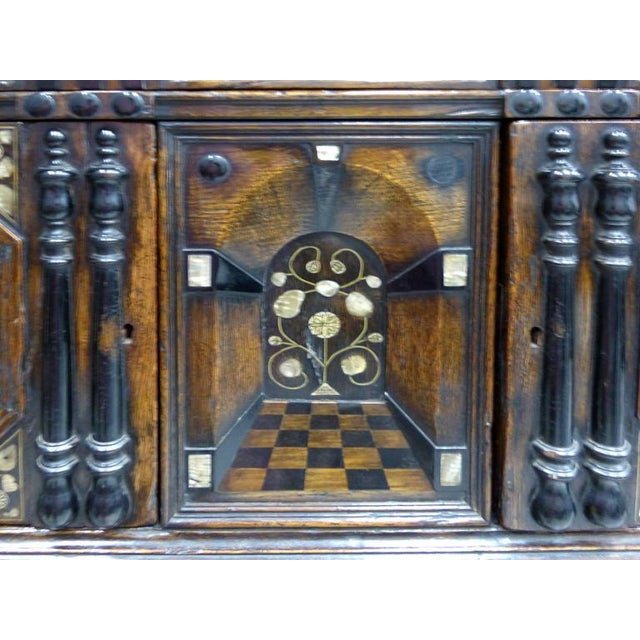 Restoration Charles II English Cabinet circa 1660-1685, Mother-of-Pearl Inlays For Sale - Image 4 of 11