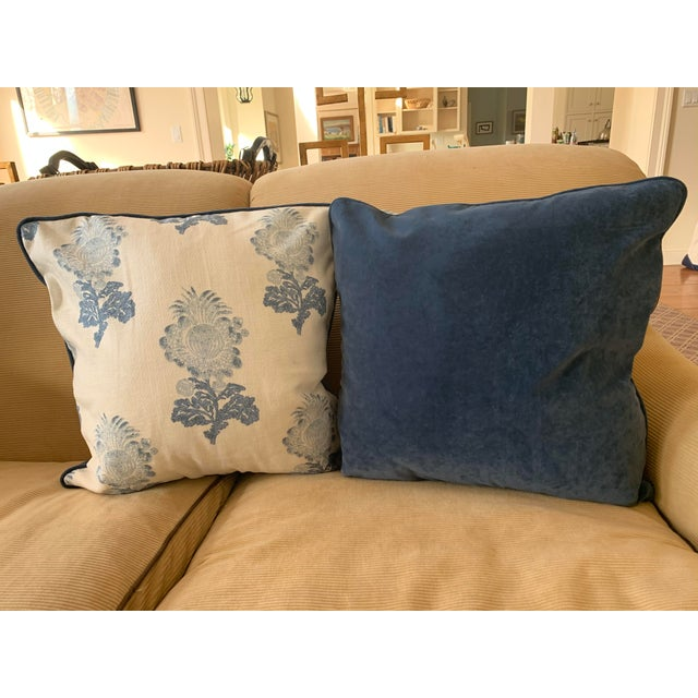 This pretty pair of pillows has a solid blue Quadrille velveteen backing and welt. Custom made for a staging job, they are...