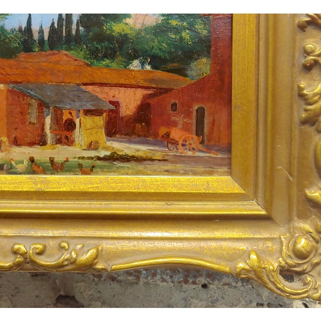 "Canvas Attributed to Morris Graves ""Farmhouse With Chickens"" Oil Painting For Sale - Image 7 of 10"