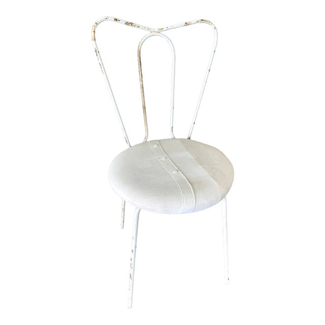 Vintage White Metal Garden Chair With Upholstered Seat For Sale