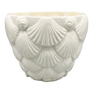 Mid-Century Whittier Pottery White Ceramic Shell Planter For Sale