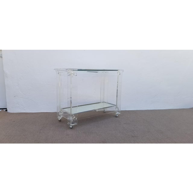 1970s Lucite Mirrored Glass Bar Cart For Sale In Miami - Image 6 of 13