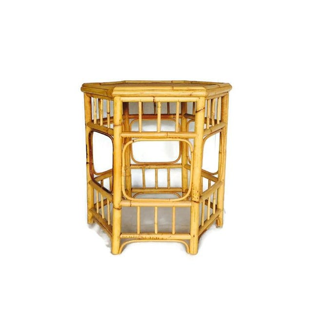 Vintage Bamboo Fretwork Side Table - Image 2 of 7