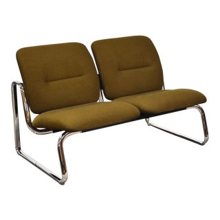 Steelcase Green and Chrome Loveseat Sofa For Sale