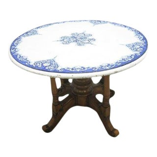 Antique Round Blue White Cement Dining Table Last Call For Sale