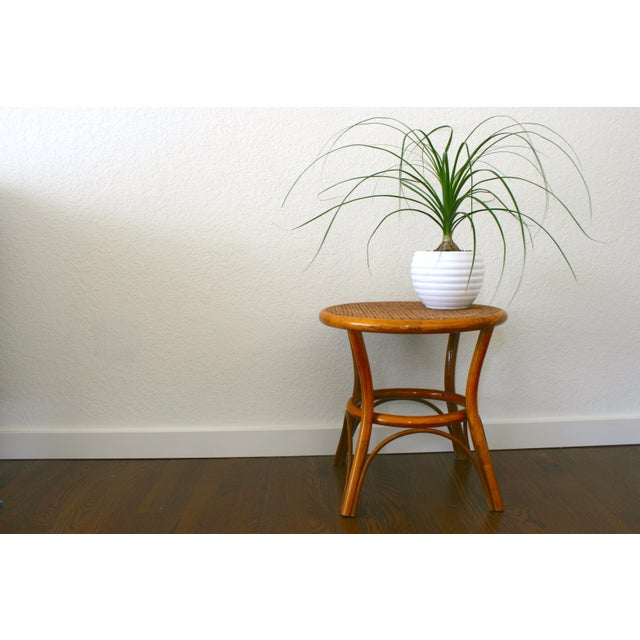 Vintage Rattan and Cane Tables - a Pair For Sale - Image 9 of 10