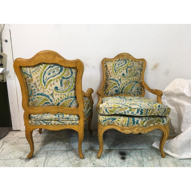 Silk Pair of French Style Chairs For Sale - Image 7 of 9