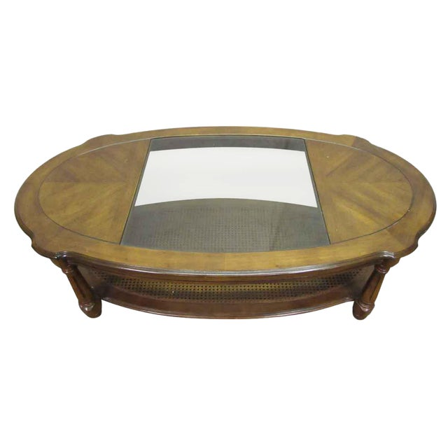 Glass Top Insert Coffee Table For Sale