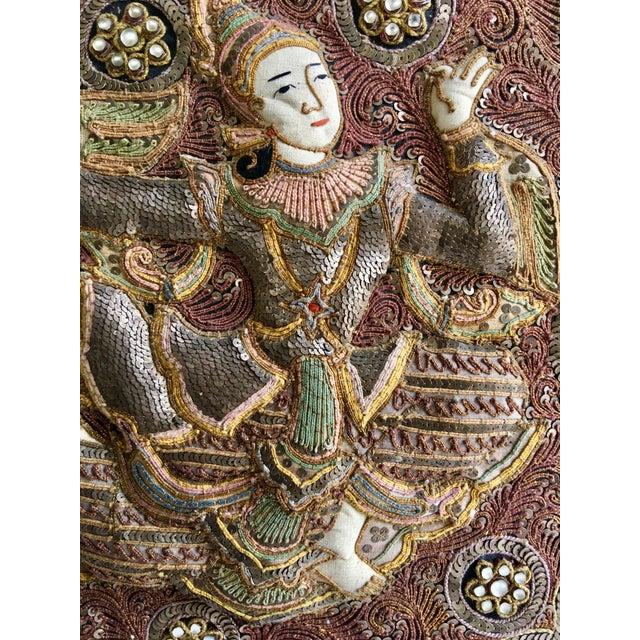 Vintage Burmese Kalaga Dancer Tapestry For Sale In Monterey, CA - Image 6 of 10