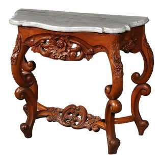 American Victorian Marble Top Console Table For Sale
