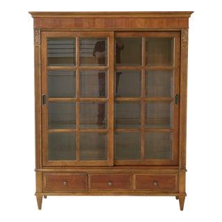 Ethan Allen Sliding 2 Door Cherry Bookcase For Sale