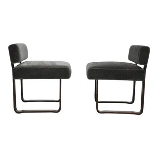 "1950s Edward Wormley for Dunbar ""Modern Morris"" Bench Chairs - a Pair For Sale"