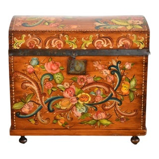 Antique Folk Art Tole Painted Wooden Trunk and Blanket Chest For Sale
