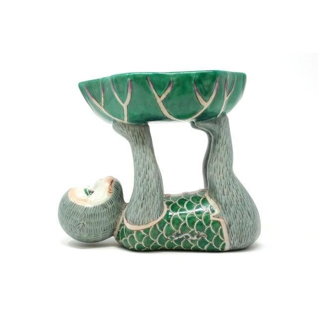 Vintage Ceramic Monkey Holding a Leaf Dish For Sale - Image 11 of 11