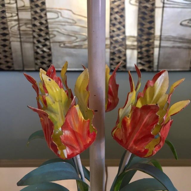 Mid 20th Century Vintage Tole Floral Lamp For Sale - Image 5 of 8