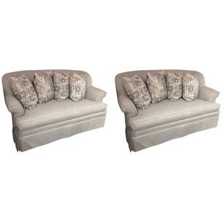 Contemporary Custom Platinum Gray Linen Sofa Loveseats - a Pair For Sale