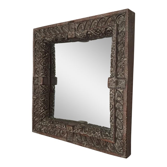 South Asian Style Faux Wood Mirror - Image 1 of 5