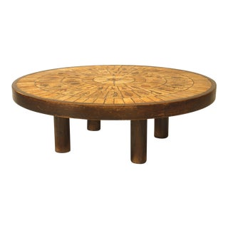 French 1960s Round Coffee Table With a Inset Beige Ceramic Tile Top For Sale
