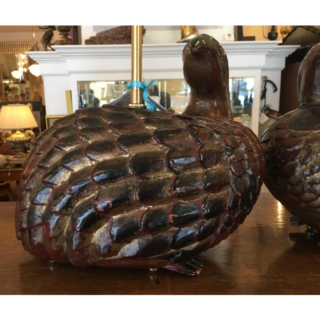 Antique Polychrome Decorated Wood Bird Figure Lamps - a Pair - Image 5 of 10