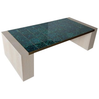 Oak and Malachite Cocktail Table by Paul Marra For Sale
