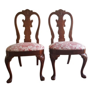 1980s Queen Anne Side Dining Chairs - a Pair