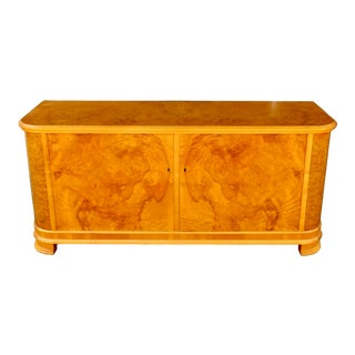 Swedish Art Moderne Storage Cabinet/Sideboard in Burled Elm Circa 1940 For Sale