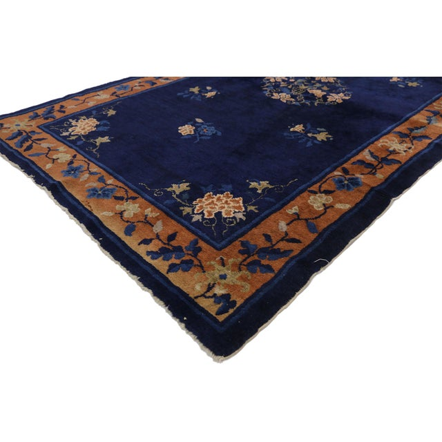 Navy Blue Early 20th Century Antique Chinese Peking Accent Rug - 3′11″ × 6′8″ For Sale - Image 8 of 10