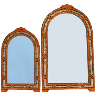 Orange & Brass Inlay Moroccan Mirrors, S/2 For Sale