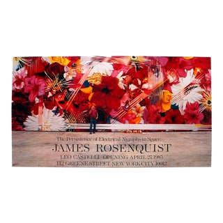 """JAMES ROSENQUIST The Persistence of Electrical Nymphs in Space 23"""" x 38.75"""" Poster 1985 Pop Art Red, Pink Flowers - Set of 5 For Sale"""