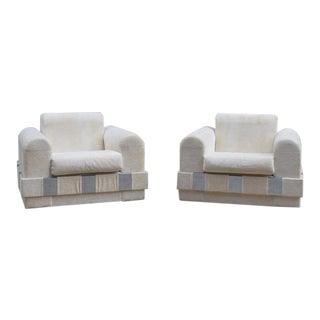 Adrian Pearsall White & Chrome Club Chairs - A Pair