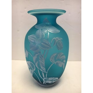 Turquoise Blue Hand Painted Fenton Glass Vase Preview