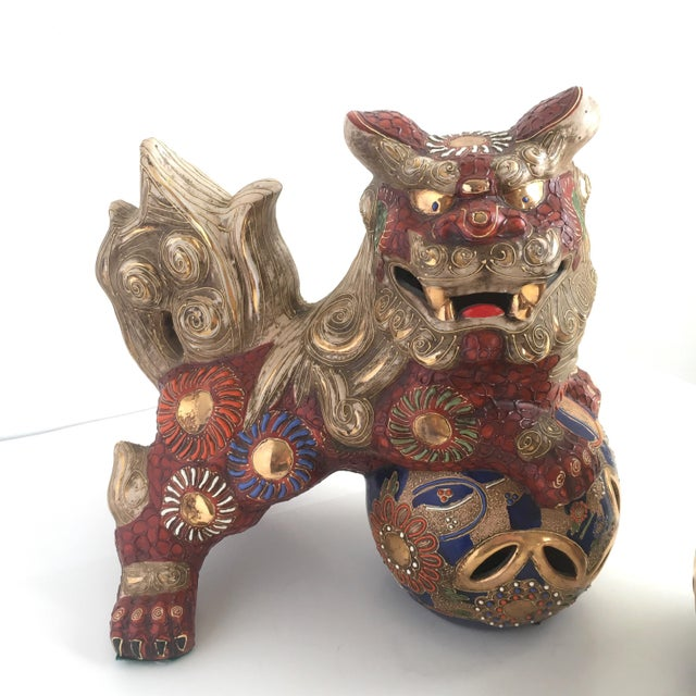 1970s Hollywood Regency Large Red Gilt Foo Dogs - a Pair For Sale - Image 4 of 10